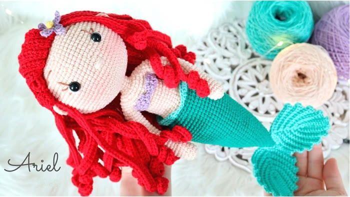 Muñeca princesa Ariel La sirenita Amigurumi