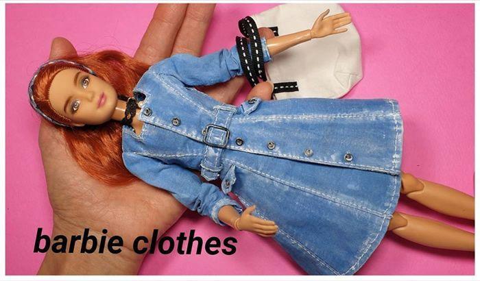 Vestido azul vaquero para muñeca Barbie