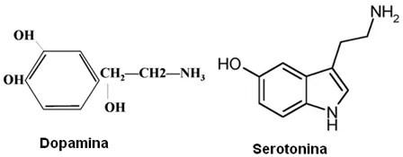 Fórmulas estruturais da dopamina e da serotonina