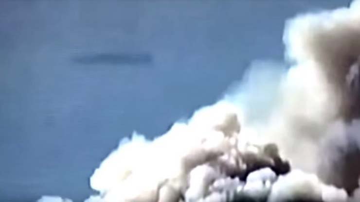 UFO fires california - A cigar-shaped UFO bursts into news relay on wildfires in California