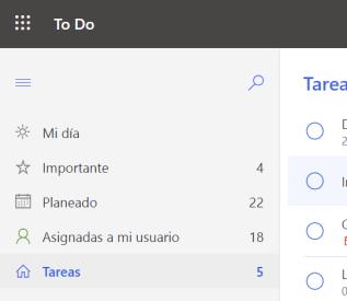 Listas de tareas predeterminadas en Microsoft To-Do