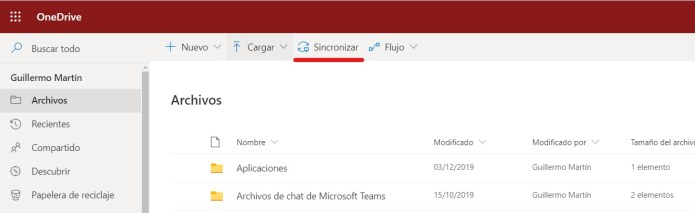Sincronizar OneDrive con el explorador de archivos
