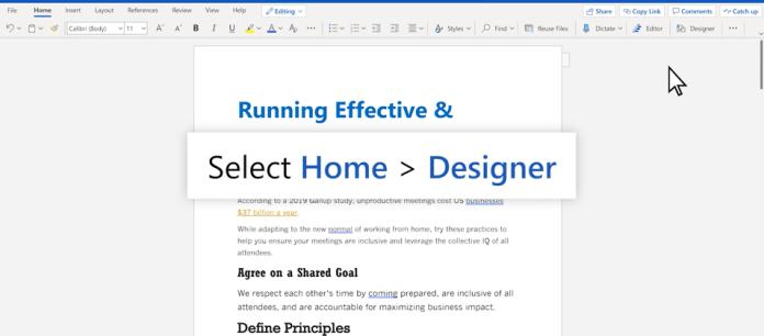 Microsoft comienza a implementar Designer para Word en la web
