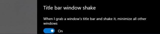 La función Aero Shake llega a la Configuración de Windows 10