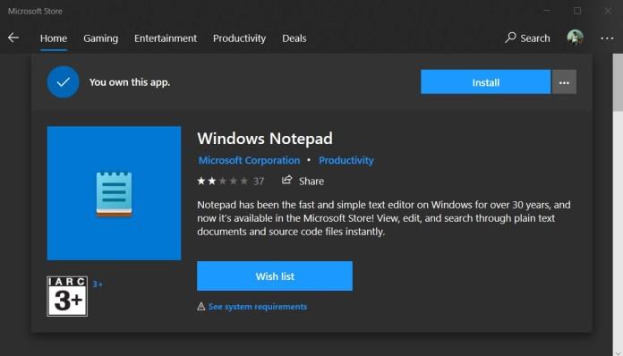La actualización de funciones de Windows 10 convierte el Bloc de notas en una aplicación de la tienda