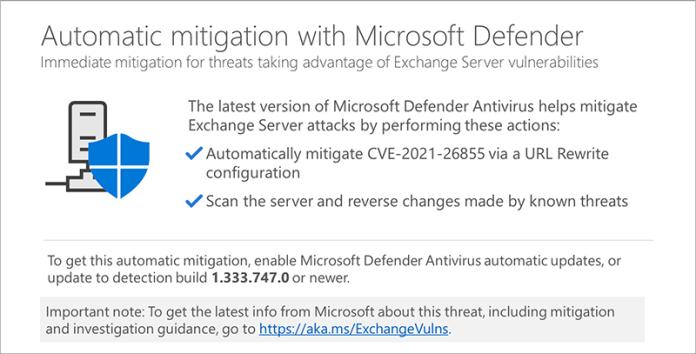 Microsoft Defender Antivirus ahora mitigará automáticamente las vulnerabilidades de Microsoft Exchange Server