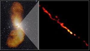 Chorros de partículas a partir de un agujero negro