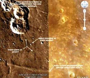 ¿Vías de tren existentes en Marte?