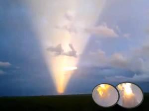 Increíbles pilares enormes de luz aparecieron el 17 de diciembre 2012, cerca de la ciudad de Palotina, Brasil