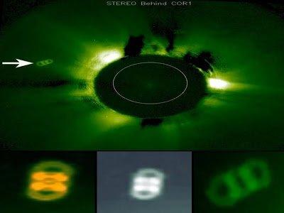 Increíble OVNI con forma de doble anillo visible otra vez cerca del Sol – marzo 2013