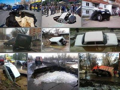 "La ciudad rusa de Samara siendo ""devorada"" por dolinas gigantes – abril 2013"