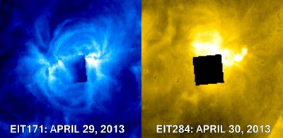 ¿'Cubo negro' OVNI gigante en la superficie del Sol? – 29 – 30 abril 2013