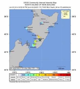 Terremoto en Nueva Zelanda de magnitud 6.2 sacude la Isla Norte