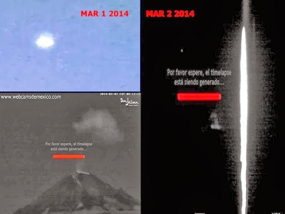 OVNI y Haz de luz sobre el Volcán Popocatépetl México