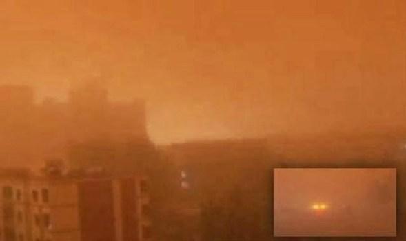 ¿Día o noche? Gran tormenta de arena sumerge a Gansu en una niebla roja – 23 de abril 2014