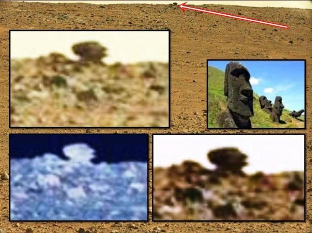 ¿Cabeza similar a los Moái de la Isla de Pascua en Marte fotografiada por la sonda Curiosity?