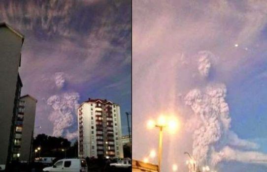 Figura de apariencia humana en la nube de ceniza