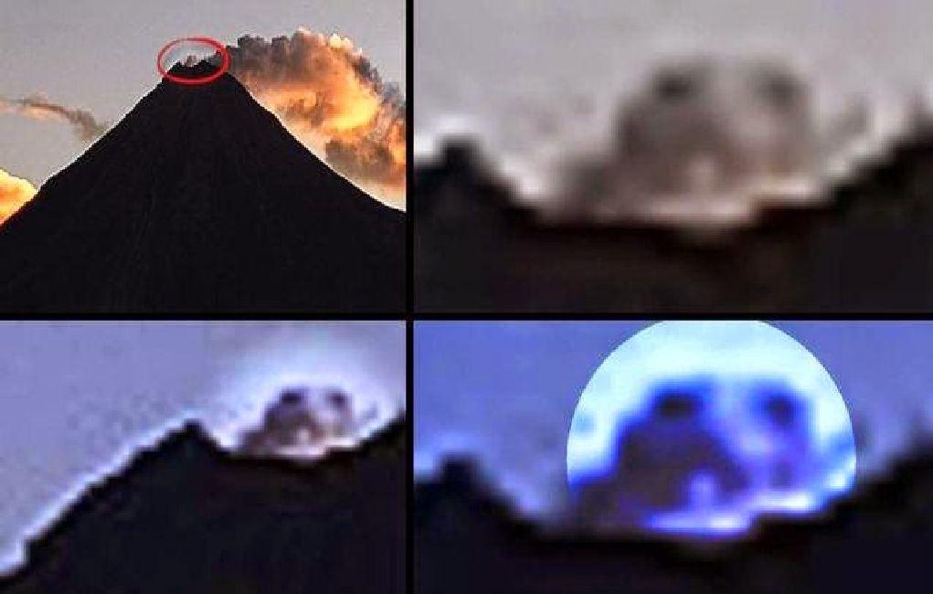 Pareidolia de cabeza de reptil en el Volcán Calbuco