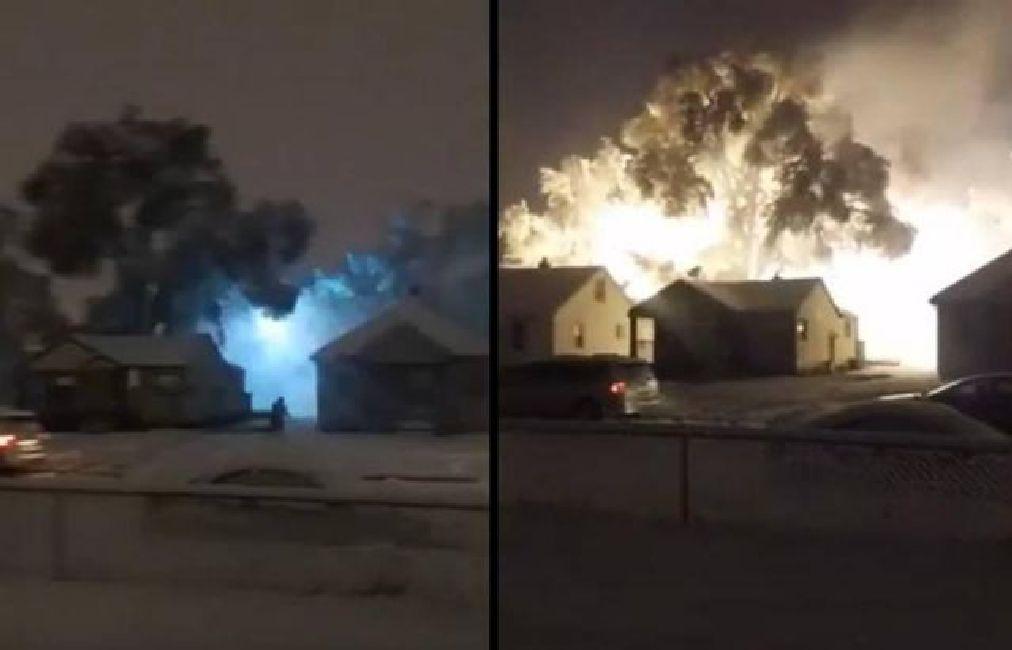 Espectacular fuego eléctrico en Warren