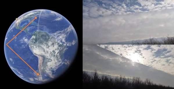 Extraño rastro en el cielo se extiende a lo largo de la Tierra