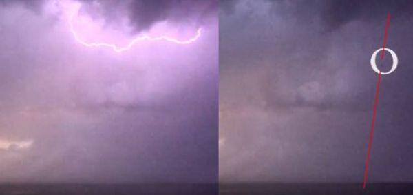 OVNI de alta velocidad emerge del mar durante la tormenta