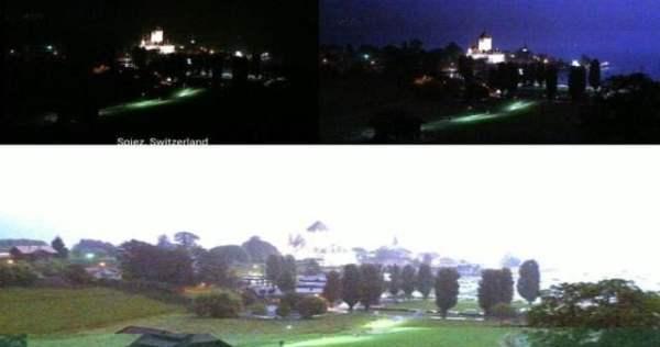 Sky cam grabó flashes sobre Spiez, Suiza