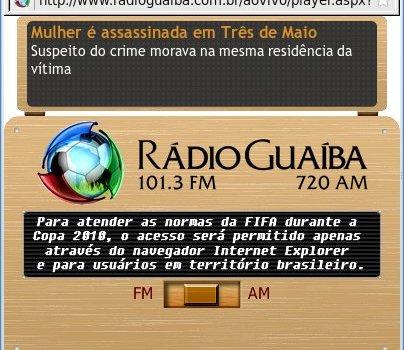 Fifa restringindo o acesso de transmissões de rádio via web ao Internet Explorer ?