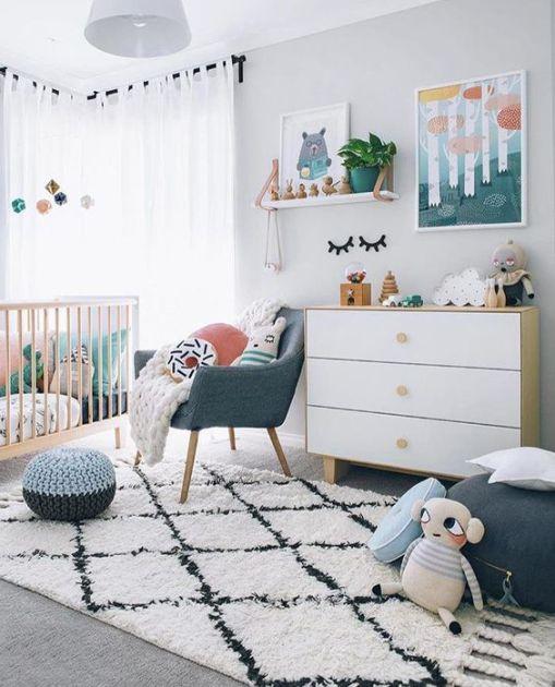 Quarto de bebê em tons cinza