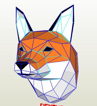Cabeza de zorro papercraft