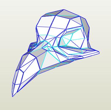 Cráneo Ave papercraft
