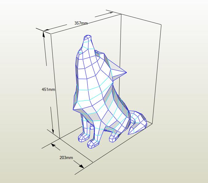 Lobo lowpoly aullando papercraft