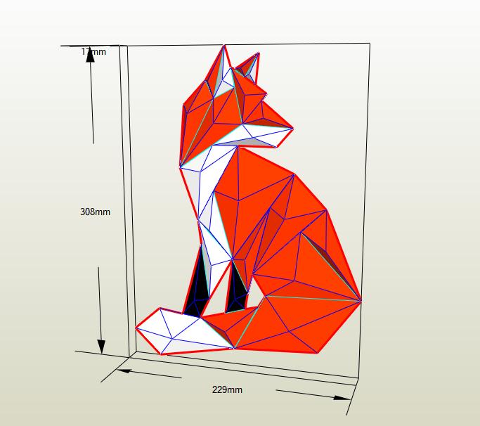Mosaico zorro papercraft