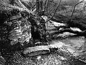 Una desgastada inscripción, sobre ésta losa plana de piedra, cerca del puente de Slaughter, a orillas del r�o Camel (Cornualles), originó la especulación de que señalaba la tumba del rey Arturo. (Foto ampliable con detalles)
