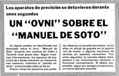 """Noticia del 31 de agosto de 1977 que habla sobre el primer OVNI avistado por el buque """"Manuel de Soto""""."""