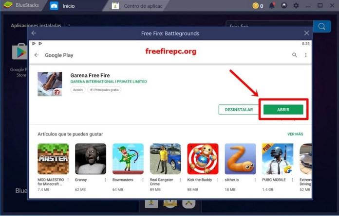 google play instalar free fire en pc abrir