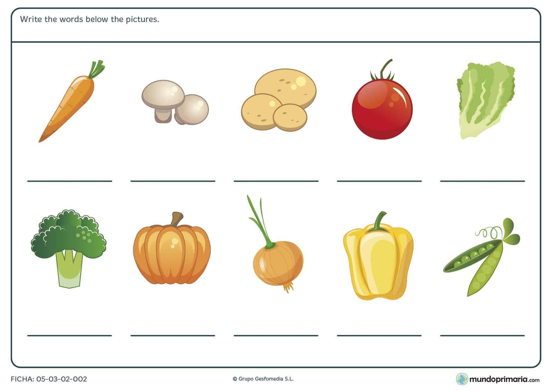 Sentarnos a leer cuentos en inglés con los más peques. Ficha de vegetables para primaria