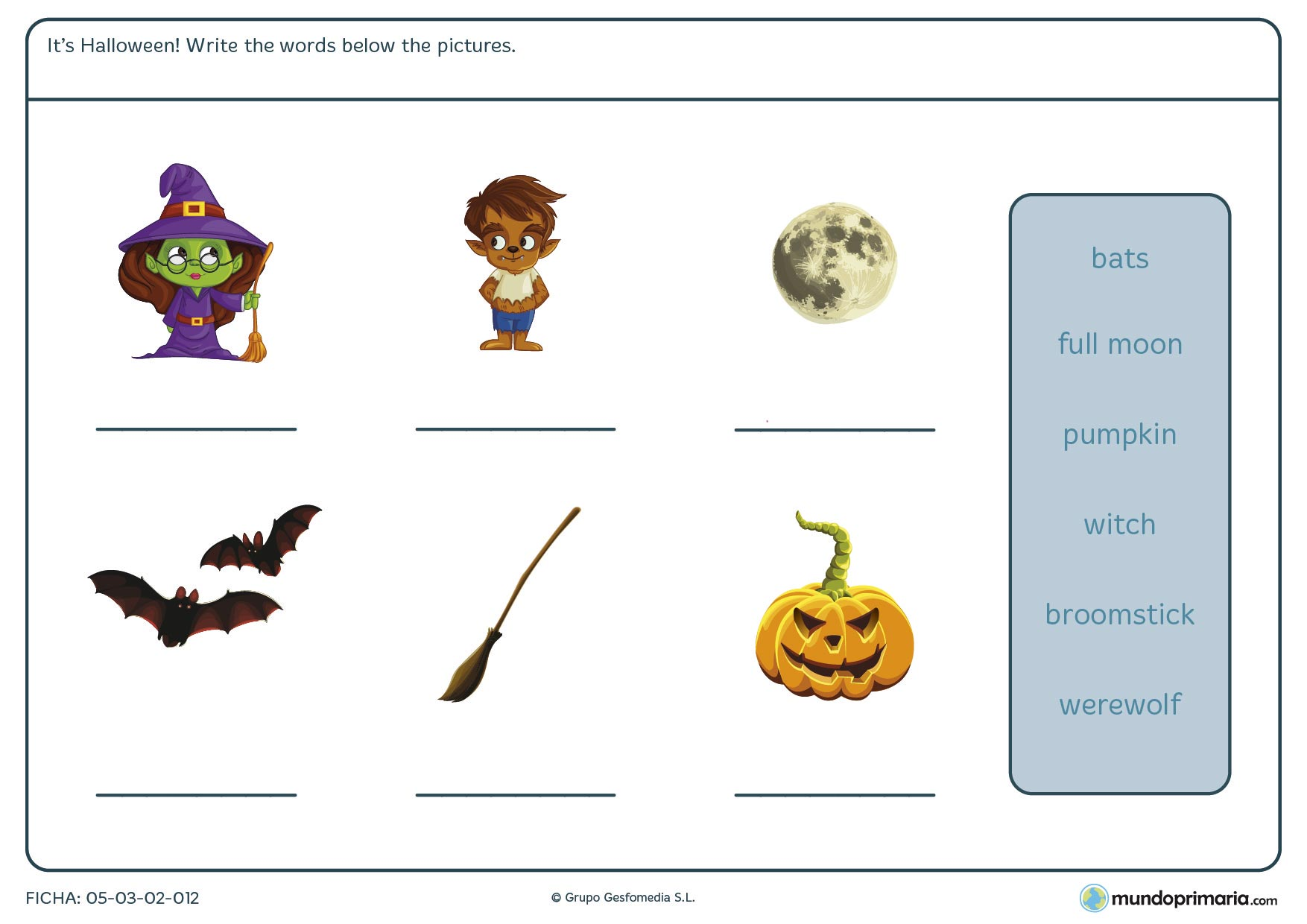English short stories to learn english free. Ficha de completar con las palabras de Halloween para primaria