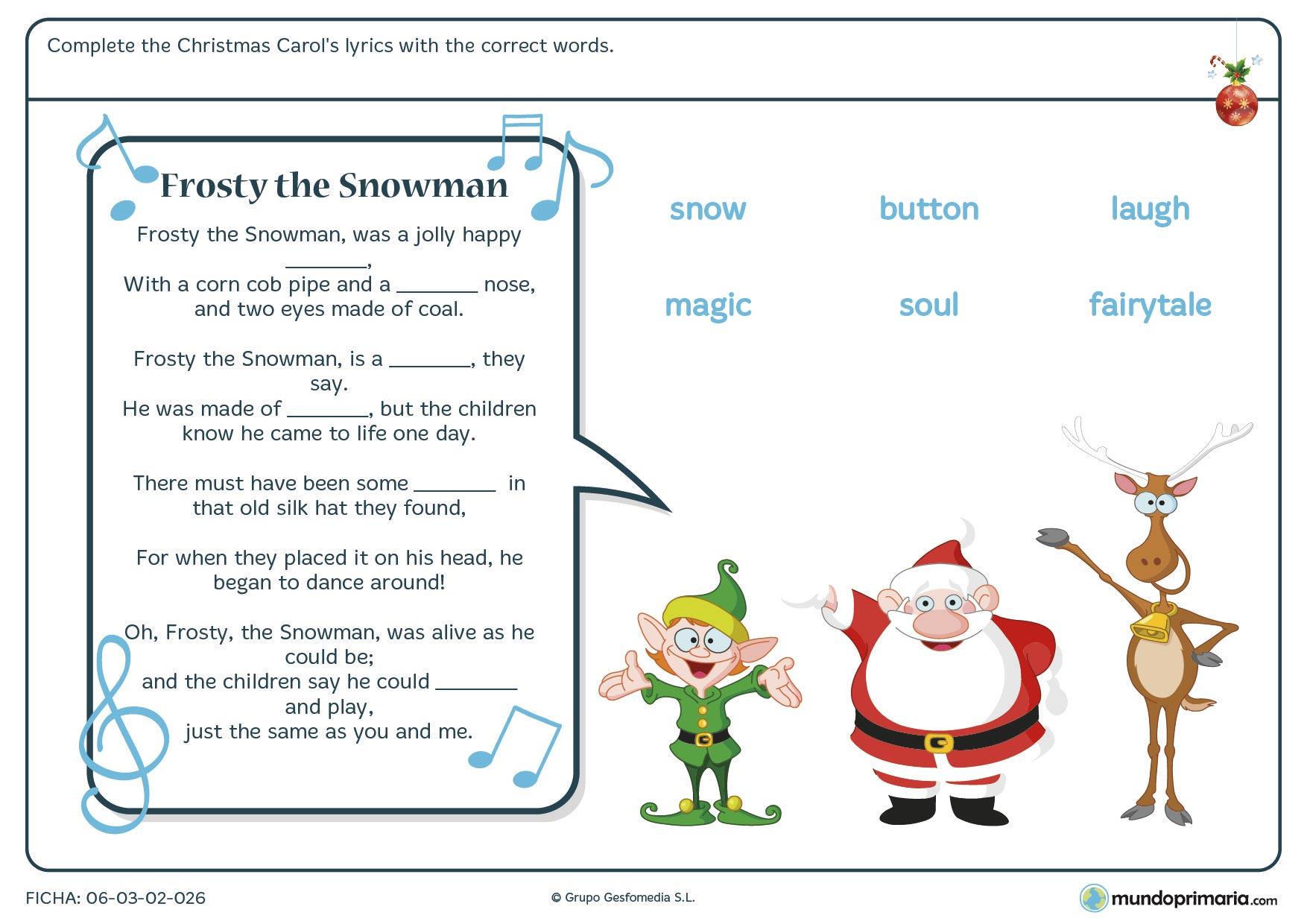 Ficha De Ingles De Vocabulario De Navidad Para Primaria