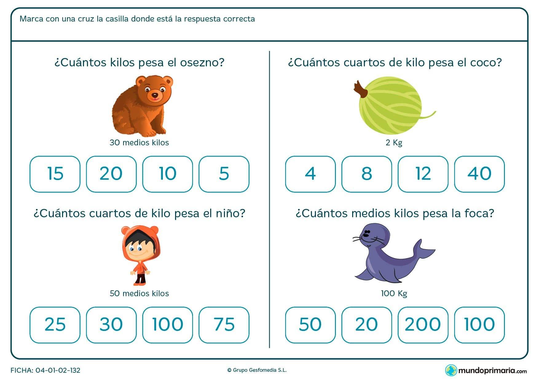 Sentarnos a leer cuentos en inglés con los más peques. Ficha de correspondencia entre unidades de peso para primaria