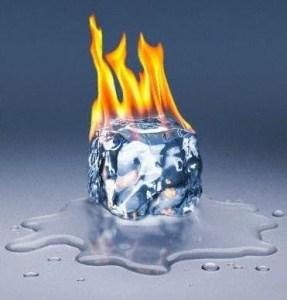 gelo pegando fogo