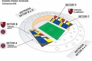 Mapa de setores do jogo Flamengo x Desportiva em 2015. Foto: Folha Vitória.