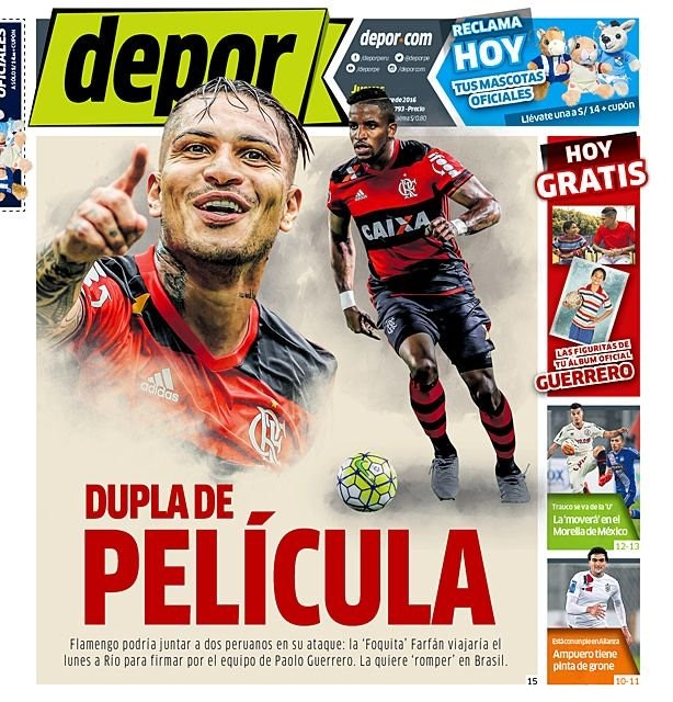 Imprensa peruana coloca Farfán no Flamengo