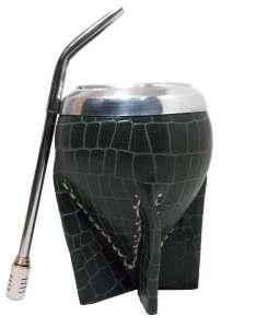 Mate uruguayo vaqueta croco verde con bombilla