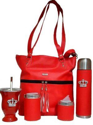 Set matero con bolso de eco-cuero rojo