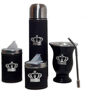 Set matero con mate calabaza sin bolso color negro gliter