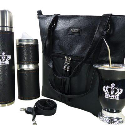 Set de mate con cartera negra y mate de calabaza con corona colección Aylen