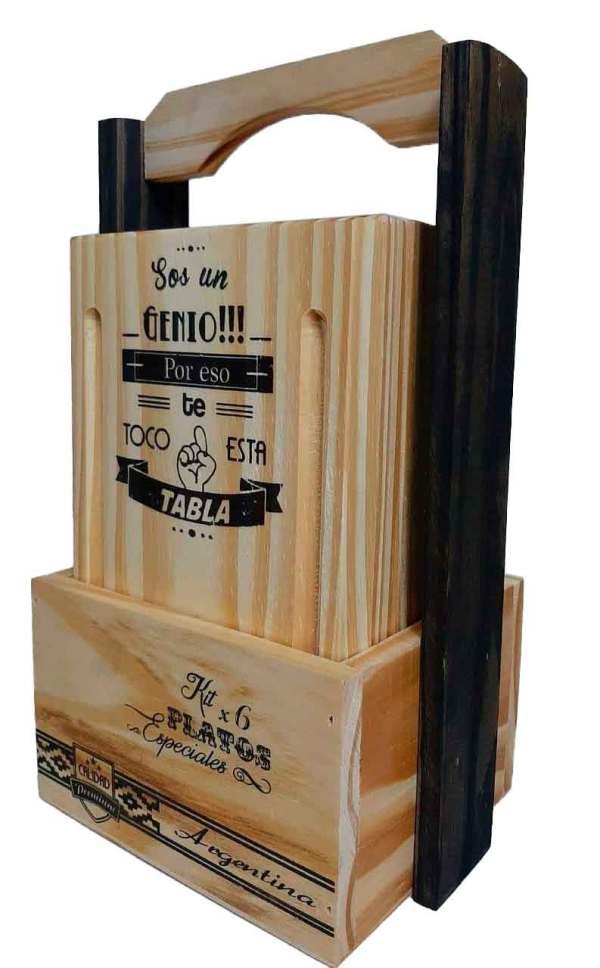 Canasta porta set de tablas para asado
