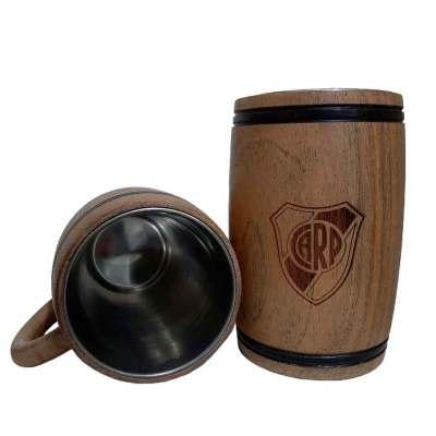 Chopera de madera con grabado laser de River Plate