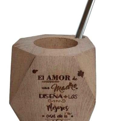 Mate de madera con grabado a láser con motivo Amor de madre