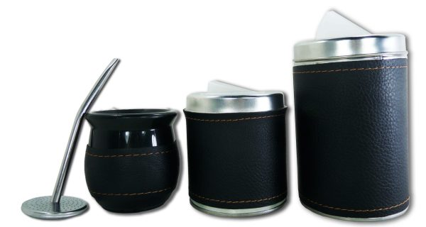 Set de 3 piezas eco cuero negro liso